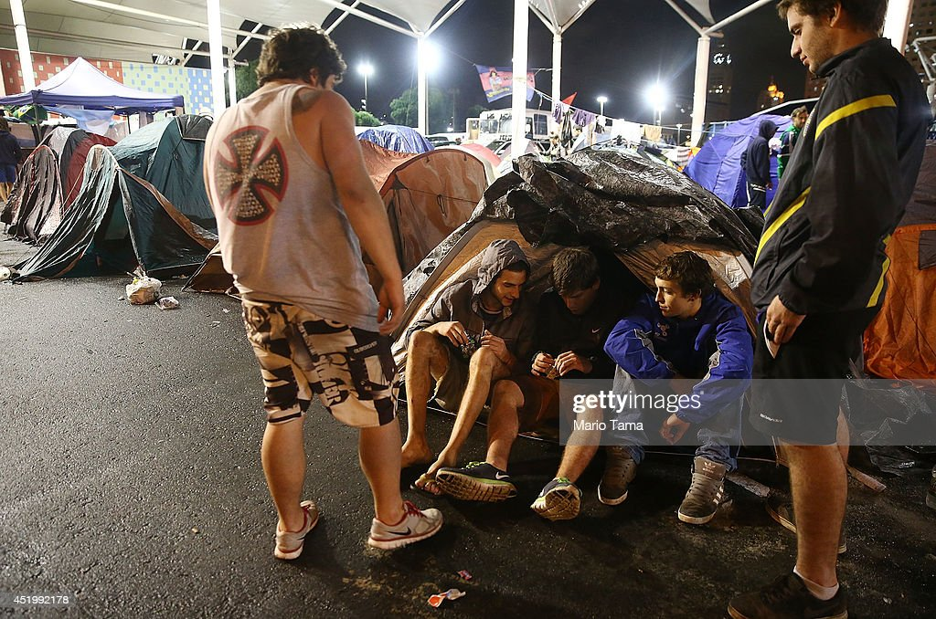 Argentina fans gather at a makeshift campsite as they await the 2014 FIFA World Cup final on July 10, 2014 in Rio de Janeiro, Brazil. The final match between Argentina and Germany occurs July 13 at Maracana in Rio.