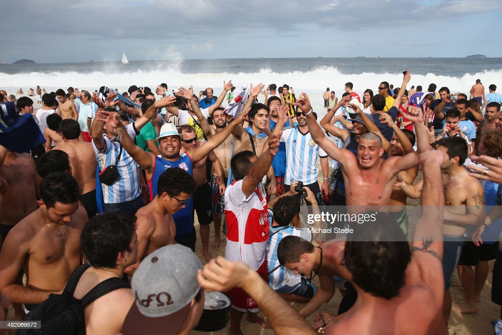 Argentina fans gather on Copacabana Beach ahead of the 2014 FIFA World Cup Brazil Final match on July 12, 2014 in Rio de Janeiro, Brazil.