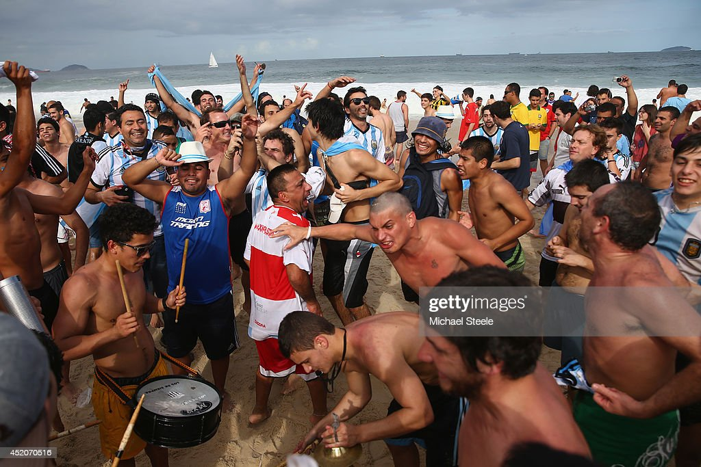 Argentina fans gather on Copacabana Beach ahead of the 2014 FIFA World Cup Brazil Final match on July 12, 2014 in Rio de Janeiro, Brazil.