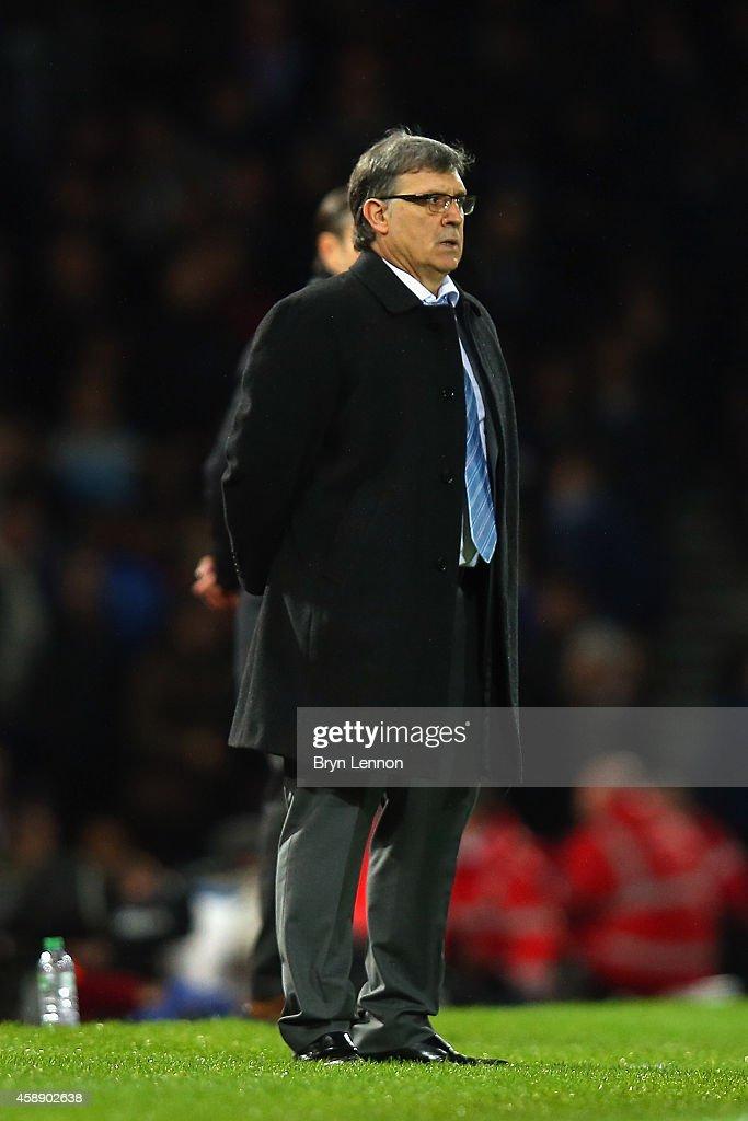 Argentina Head Coach Gerardo Martino looks on during the International Friendly between Argentina and Croatia at Boleyn Ground on November 12, 2014 in London, England.