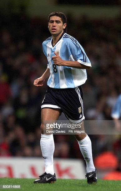 Argentina Juan Roman Riquelme in action in the International friendly against Wales at the Millennium Stadium Cardiff