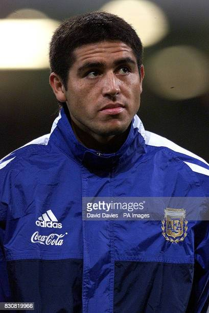 Argentina Juan Roman Riquelme in the line up just before the friendly international game against Wales at the Millennium Stadium Cardfiff