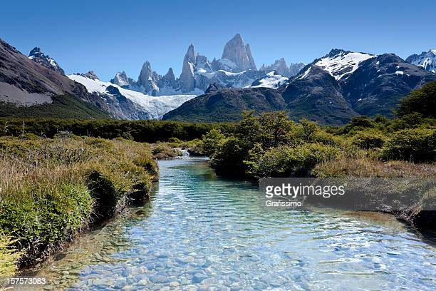 Argentina Patagonia blue sky over Mount Fitz Roy