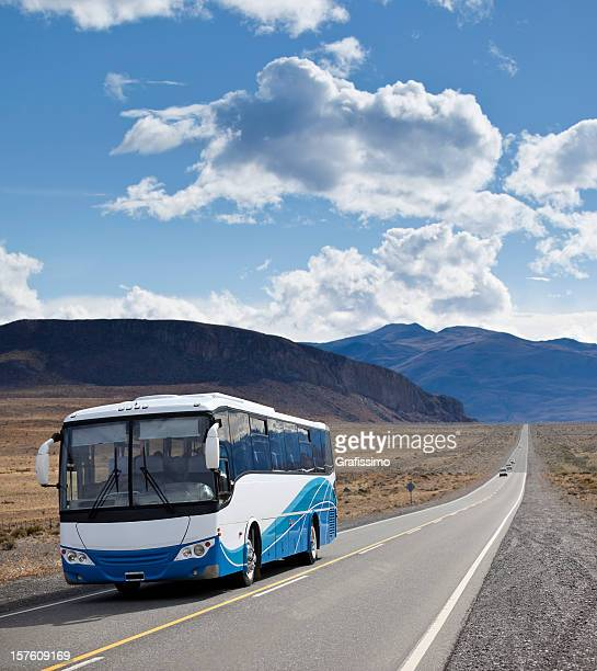 Argentina Patagonia bus driving on highway