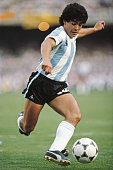 Argentina player Diego Maradona in action circa 1985