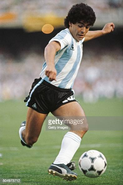Argentina player Diego Maradona in action circa 1985