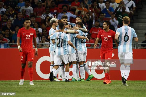 Argentina players celebrate after Federico Fazio of Argentina scores the first goal during the International Test match between Argentina and...