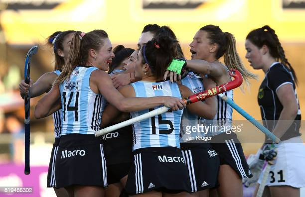 Argentina players celebrate their first goal during the semi final match between Germany and Argentina at Wits University on July 20 2017 in...