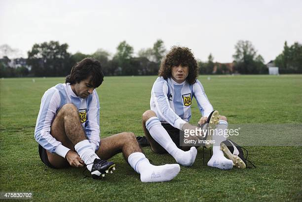 Argentina players Jorge Mario Olguin and Alberto Tarantini prepare for a training session ahead of their friendly match against England in May 1980...