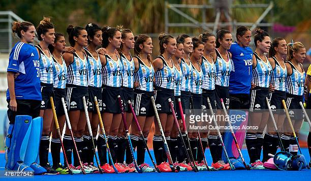 Argentina players line up for the national anthem during the match between Argentina and Canada at Polideportivo Virgen del Carmen during day two of...
