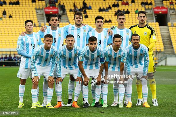 Argentina players pose during the Group B FIFA U20 World Cup New Zealand 2015 match between Argentina and Panama at Wellington Regional Stadium on...