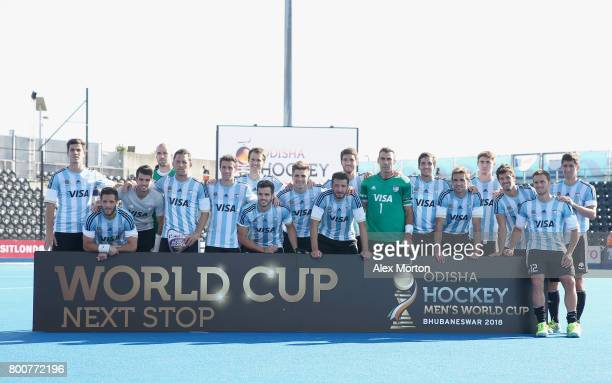 Argentina players pose with their runners up trophy after the final match between Argentina and the Netherlands on day nine of the Hero Hockey World...