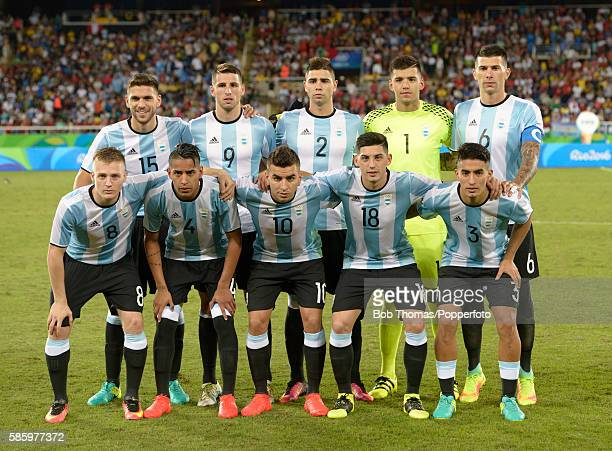Argentina pose for a team group before the Men's Group D first round match between Portugal and Argentina during the Rio 2016 Olympic Games at the...