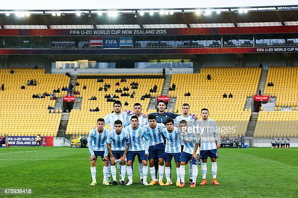Argentina pose for a team photo during the FIFA U20 World Cup New Zealand 2015 Group B match between Austria and Argentina at Wellington Regional...