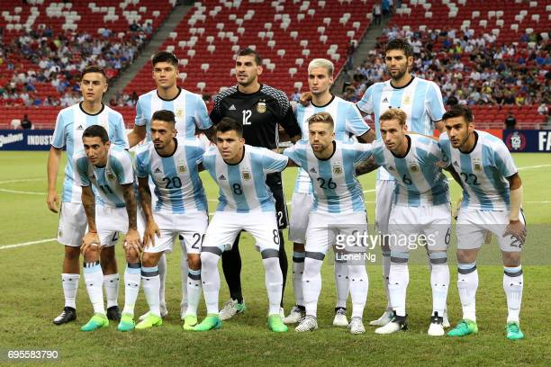 Argentina poses for a team photo before the international friendly match between Argentina and Singapore at National Stadium on June 13 2017 in...