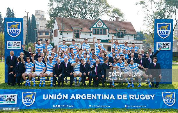 Argentina Pumas players pose for a team photo at Belgrano Athletic Club on August 30 2015 in Buenos Aires Argentina