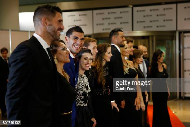 Argentina soccer player Nahuel Guzman smiles as hi poses for pictures on the red carpet during Lionel Messi and Antonela Rocuzzo's Wedding at City...