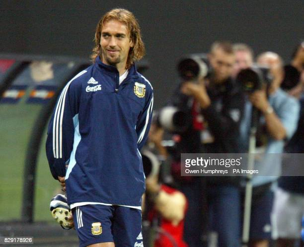 Argentina striker Gabriel Batistuta during training at the Sapporo Dome Sapporo Japan Argentina play their second match of the World Cup against...