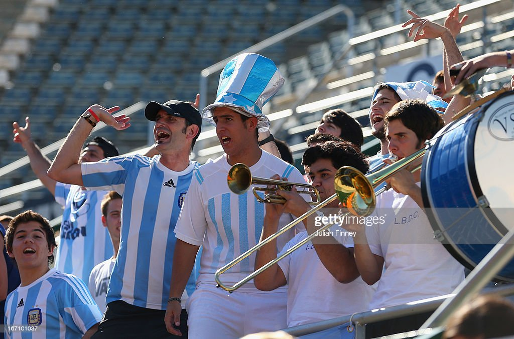 Argentina supporters make some noise in the match between Johanna Konta of Great Britain and Paula Ormaechea of Argentina during day one of the Fed Cup World Group Two Play-Offs between Argentina and Great Britain at Parque Roca on April 20, 2013 in Buenos Aires, Argentina.