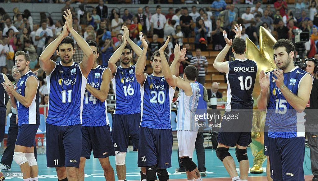 Argentina team celebrate after winning a match during the FIVB World Championships match between Venezuela and Argentina on August 31, 2014 in Wroclaw, Poland.