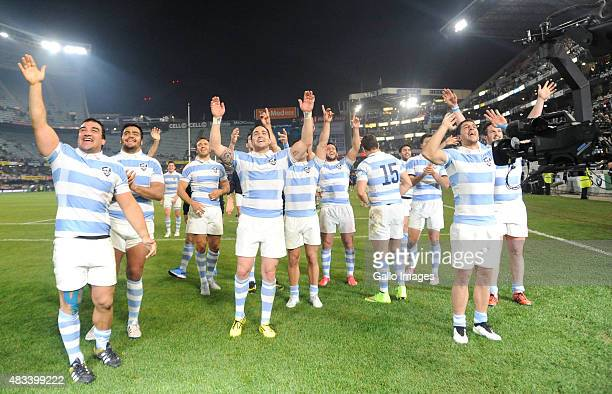 Argentina team celebrate after winning the Castle Lager Rugby Championship 2015 match between South Africa and Argentina at Growthpoint Kings Park on...