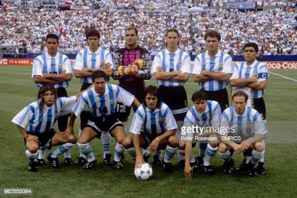 Argentina Team Group Fernando Caceres Jose Antonio Chamot Luis Islas Fernando Redondo Oscar Ruggeri Diego Maradona Claudio Caniggia Diego Simeone...