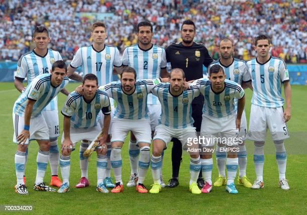 Argentina team group Marcos Rojo Federico Fernandez Ezequiel Garay Sergio Romero Javier Mascherano Fernando Gago Angel Di Maria Lionel Messi Gonzalo...