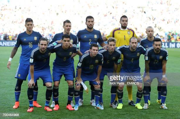 Argentina team group Marcos Rojo Martin Demichelis Ezequiel Garay Sergio Romero Javier Mascherano Gonzalo Higuain Enzo Perez Lionel Messi Lucas...