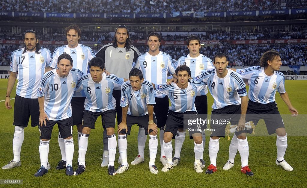 Argentina team pose for a photograph before their match against Peru as part of the FIFA 2010 World Cup Qualifier at Monumental Stadium on October 10, 2009 in Buenos Aires, Argentina.