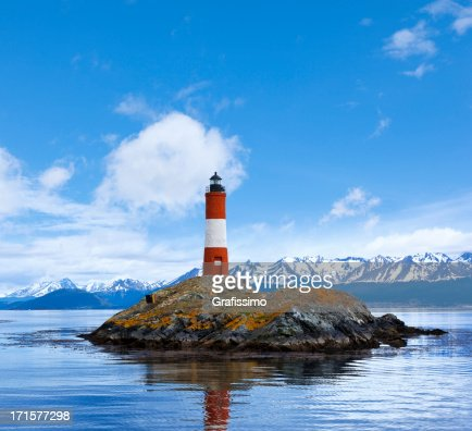 Argentina Ushuaia bay at Beagle Channel with Les Eclaireurs Ligh