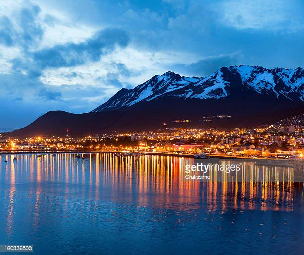 Argentina Ushuaia bay with Beagle Channel at night