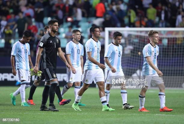 Argentina walk off the ground after they were defeated by Korea Republic during the FIFA U20 World Cup Korea Republic 2017 group A match between...