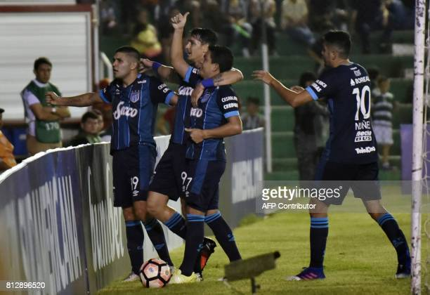 Argentina's Atletico Tucuman Luis Miguel Rodriguez celebrates with teammates after scoring against Oriente Petrolero of Bolivia during their 2017...
