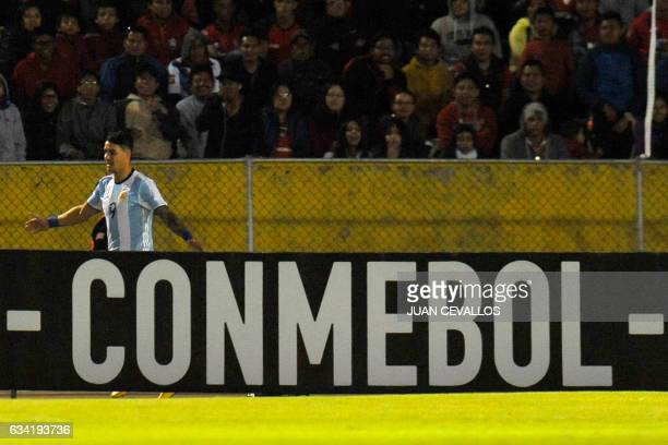 Argentina's Atletico Tucuman player Fernando Zampedri celebrates his goal against El Nacional of Ecuador during their 2017 Copa Libertadores football...