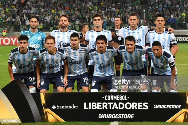 Argentina's Atletico Tucuman players pose before their 2017 Copa Libertadores football match against Brazil's Palmeiras held at Allianz Parque...