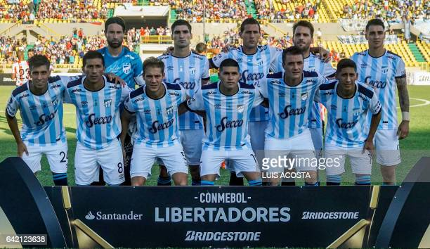 Argentina's Atletico Tucuman players pose for photos during the Copa Libertadores 2017 football match with Colombia's Junior at the Jaime Moron...