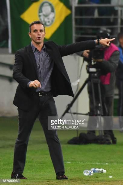 Argentina's Atletico Tucuman team coach Pablo Hernan Lavallen gestures during the 2017 Copa Libertadores football match against Brazil's Palmeiras...