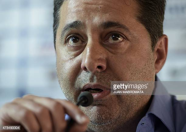 Argentina's Boca Juniors' President Daniel Angelici talks to journalists during a press conference in Buenos Aires on May 15 2015 a day after their...