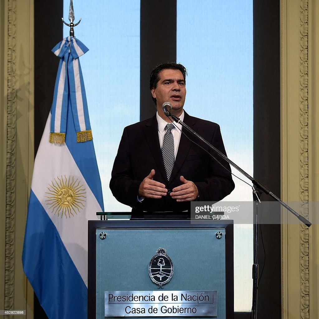 The Press Cabinet Argentinas Cabinet Chief Jorge Capitanich Talks To The Press On