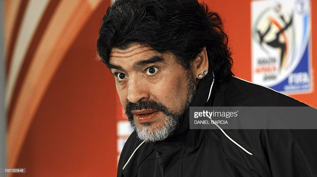 Argentina's coach Diego Maradona attends a press conference at Loftus Versveld stadium in Pretoria on June 16, 2010 during the 2010 World Cup football tournament in South Africa. Argentina will face South Korea on June 17, 2010 at Soccer City stadium in Soweto, suburban Johannesburg.