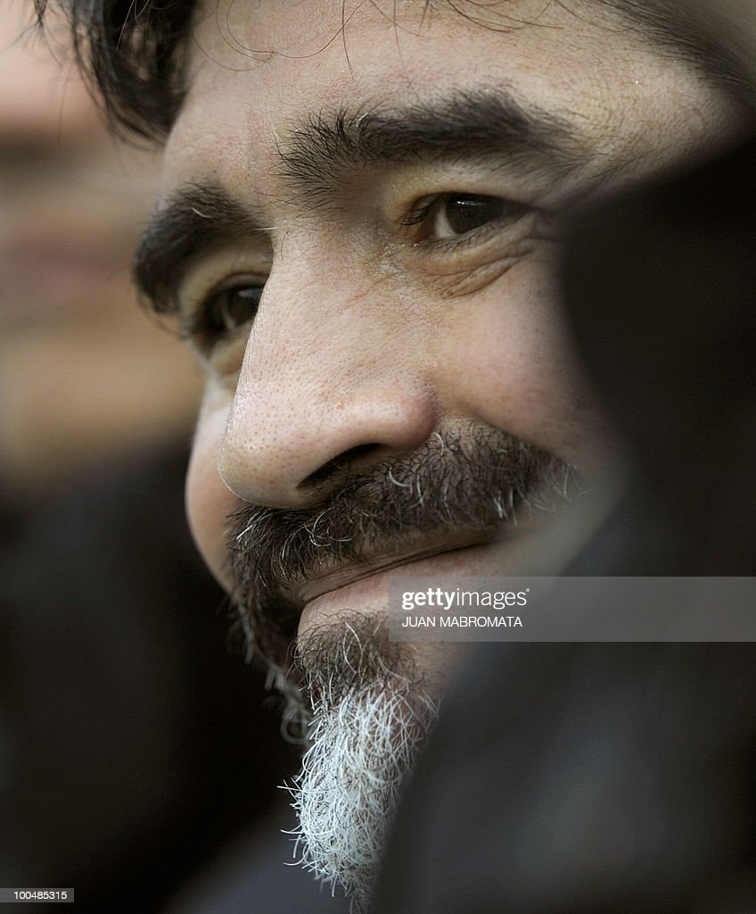 Argentina's coach Diego Maradona smiles before the start of a friendly football match against Canada at the Monumental stadium in Buenos Aires, on May 24, 2010. Argentina is flying to South Africa for the World Cup finals on Friday, and will play their first match against Nigeria on June 12 in Johannesburg. AFP PHOTO / Juan Mabromata
