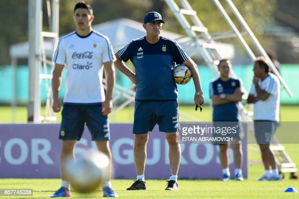 Argentina's coach Edgardo Bauza conducts a training session in Ezeiza Buenos Aires on March 25 2017 ahead of a 2018 FIFA World Cup Russia South...