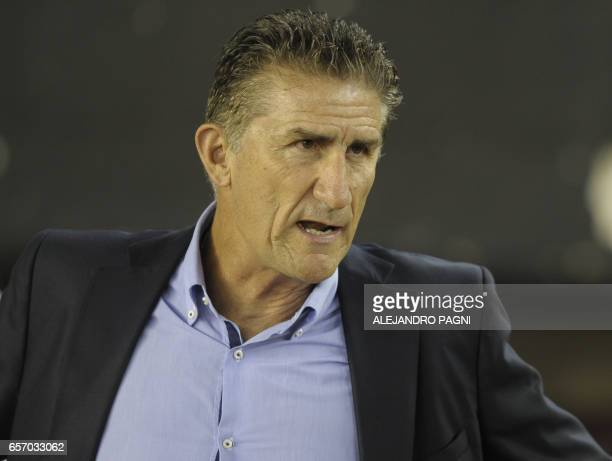 Argentina's coach Edgardo Bauza gestures before the start of their 2018 FIFA World Cup qualifier football match against Chile at the Monumental...