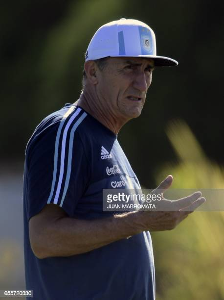 Argentina's coach Edgardo Bauza gestures during a training session of the national football team in Ezeiza Buenos Aires on March 20 2017 ahead of...