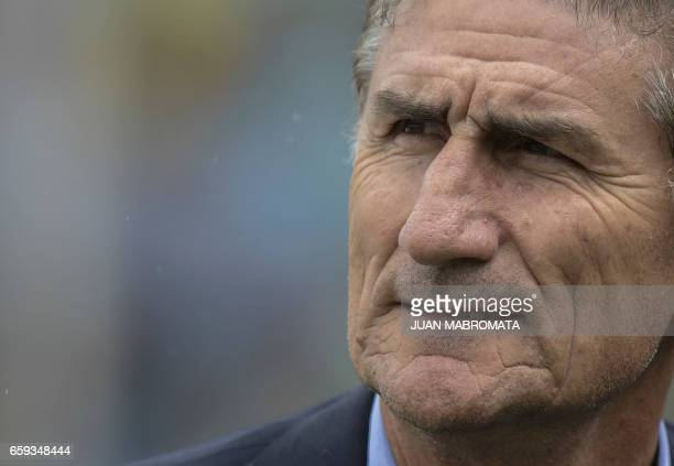 Argentina's coach Edgardo Bauza gestures during the 2018 FIFA World Cup Russia South American qualifier football match against Bolivia at Hernando...