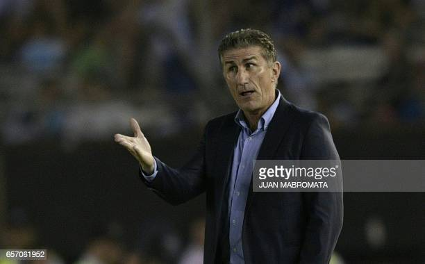 Argentina's coach Edgardo Bauza gestures during their 2018 FIFA World Cup qualifier football match at the Monumental stadium in Buenos Aires...