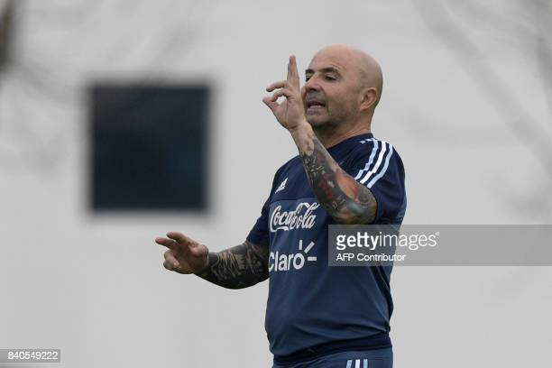 Argentina's coach Jorge Sampaoli conducts a training session of the national team in Ezeiza Buenos Aires on August 29 2017 ahead of their FIFA World...