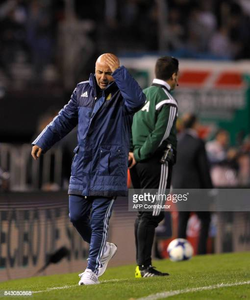 Argentina's coach Jorge Sampaoli gestures during the 2018 World Cup football qualifier match against Venezuela in Buenos Aires on September 5 2017 /...