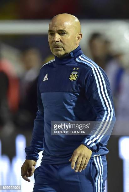 Argentina's coach Jorge Sampaoli gestures during their 2018 World Cup qualifier football match against Ecuador in Quito on October 10 2017 / AFP...