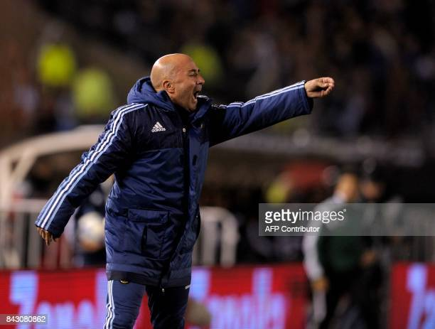 Argentina's coach Jorge Sampaoli gives instructions during the 2018 World Cup football qualifier match against Venezuela in Buenos Aires on September...